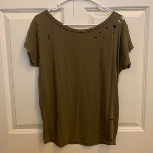 Express One Eleven Ripped Detail Short Sleeve Top
